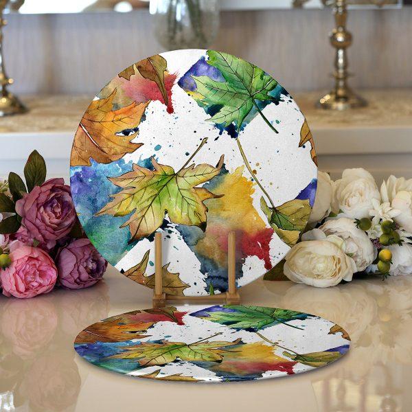 Realhomes Beyaz Zeminli Sonbahar Yaprak Desenli Dijital Baskılı Modern 2'li Yuvarlak Servis Altlığı - Supla Realhomes