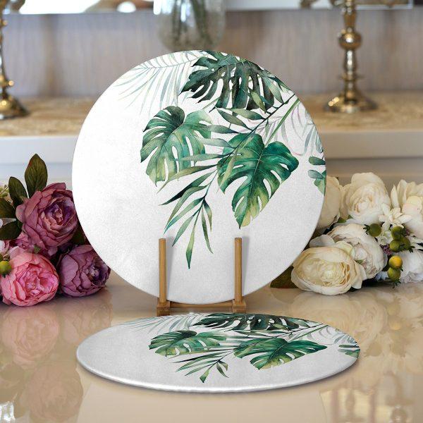 Realhomes Beyaz Zemin Üzerinde Yaprak Desenli Dijital Baskılı Modern 2'li Yuvarlak Servis Altlığı - Supla Realhomes
