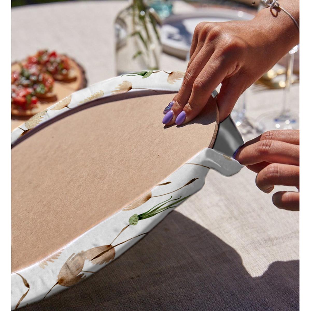Realhomes Beyaz Zemin Üzerinde Çiçek Desenli Dijital Baskılı Modern 2'li Yuvarlak Servis Altlığı - Supla Realhomes