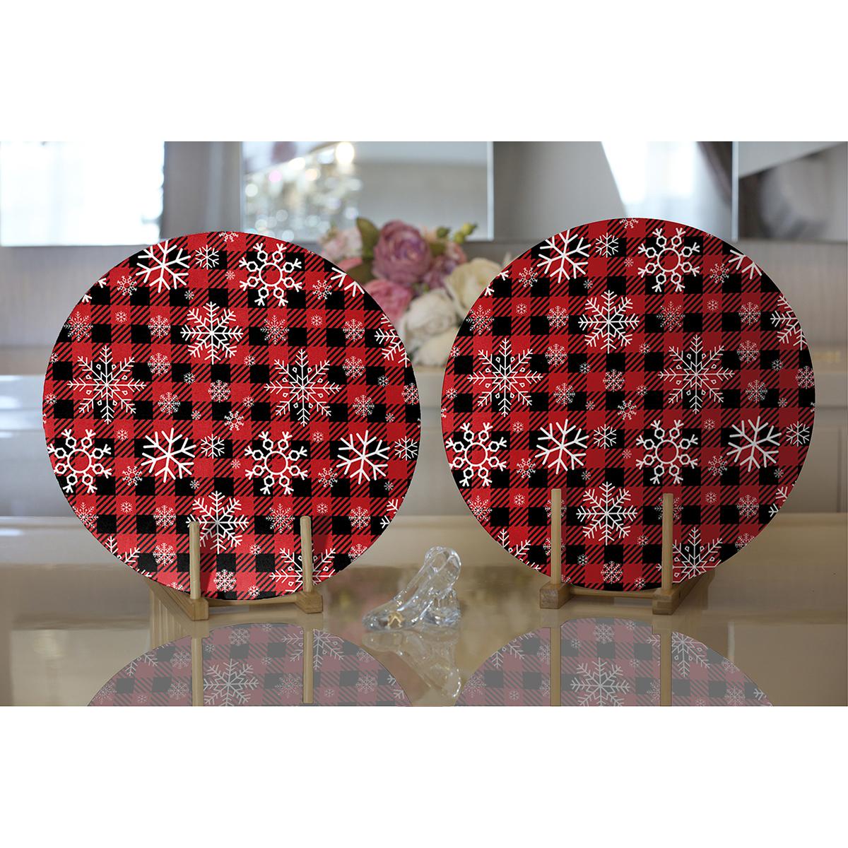 Realhomes Kırmızı Ekose Desenli Kartanesi Motifli Dijital Baskılı Modern 2'li Yuvarlak Servis Altlığı - Supla Realhomes