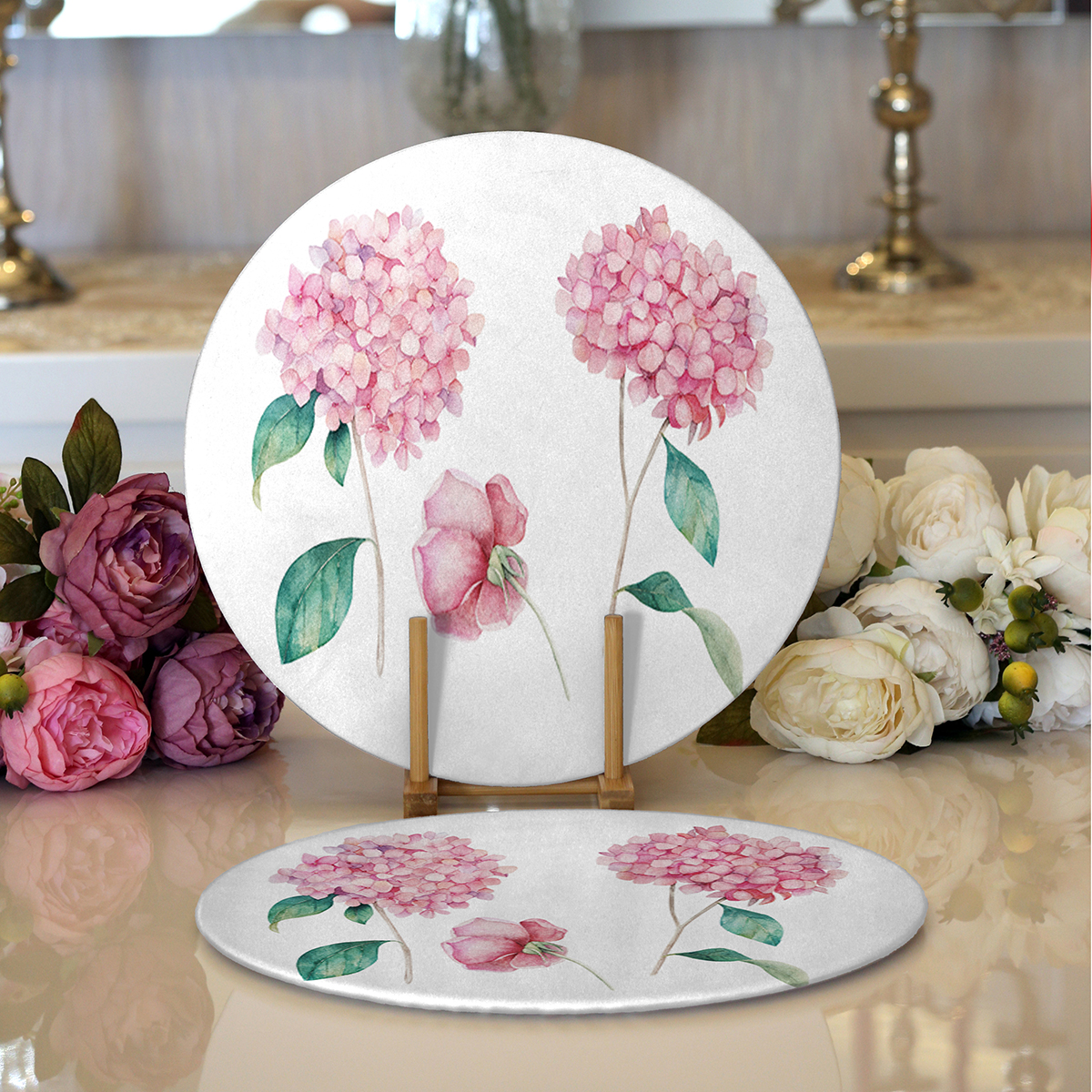 Realhomes Beyaz Zeminli Renkli Ortanca Çiçek Motifli Dijital Baskılı Modern 2'li Yuvarlak Servis Altlığı - Supla Realhomes