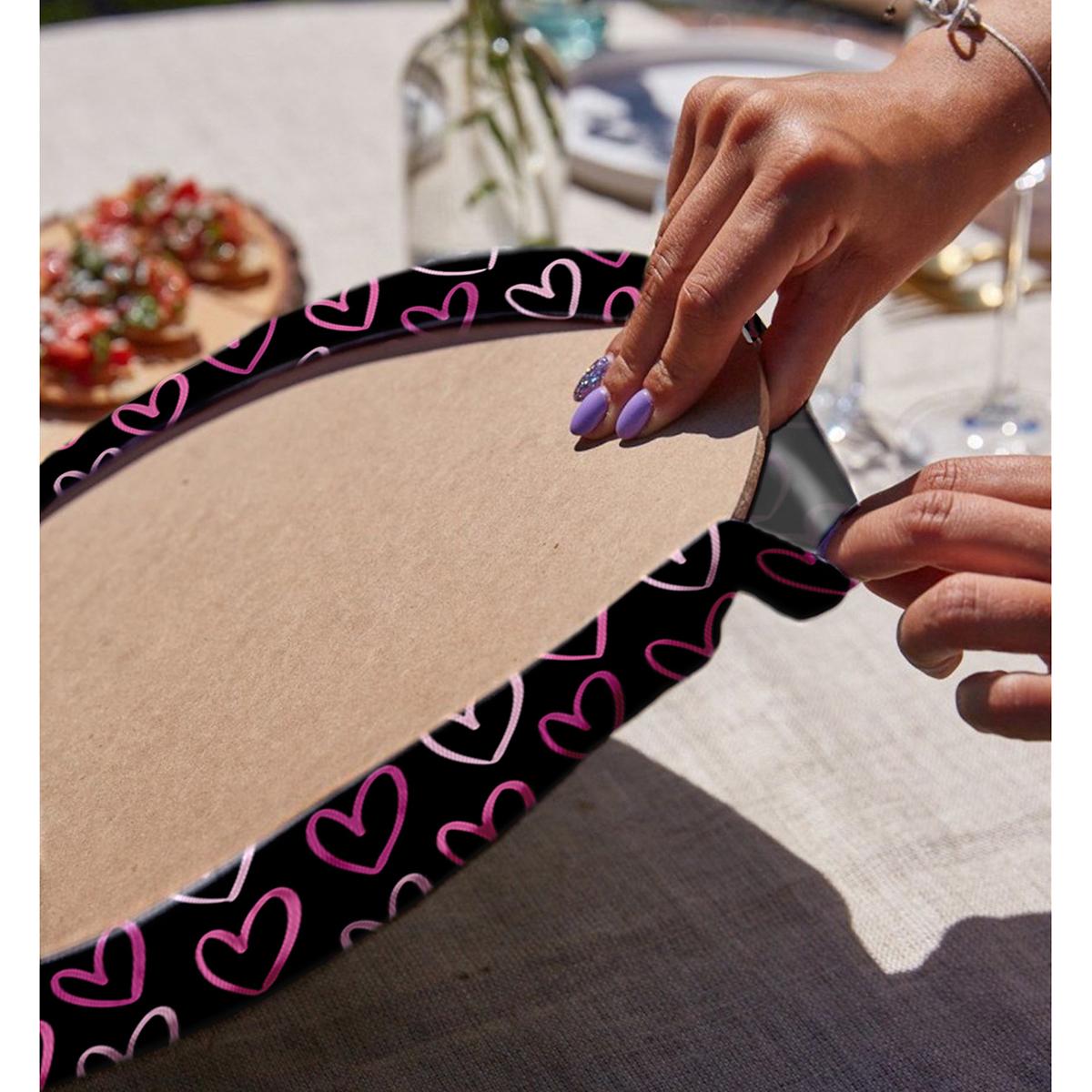 Realhomes Sevgililer Günü Temalı Özel Tasarım Dijital Baskılı Modern 2'li Yuvarlak Servis Altlığı - Supla Realhomes