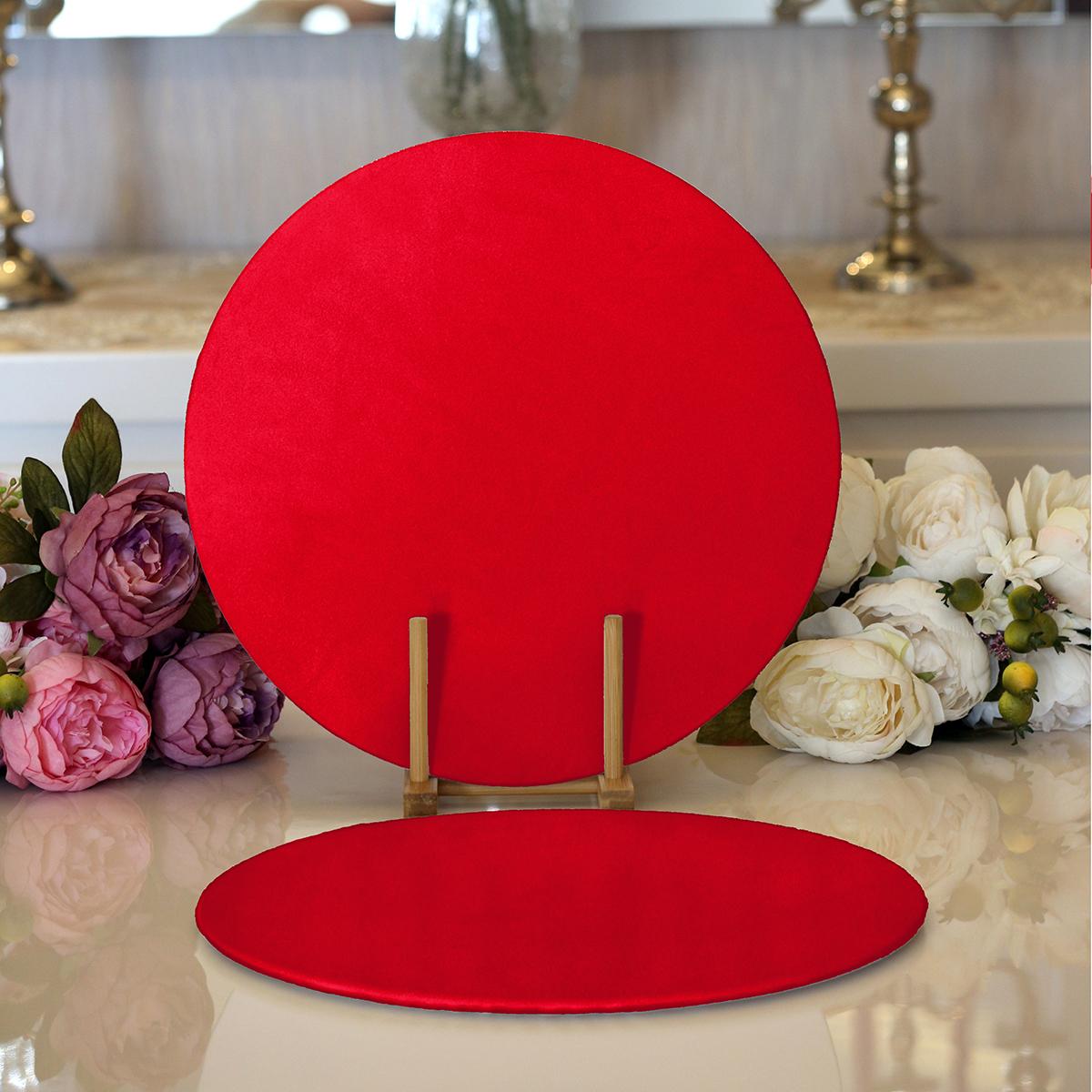Realhomes Kırmızı Renkli Dijital Baskılı Modern 2'li Yuvarlak Servis Altlığı - Supla Realhomes