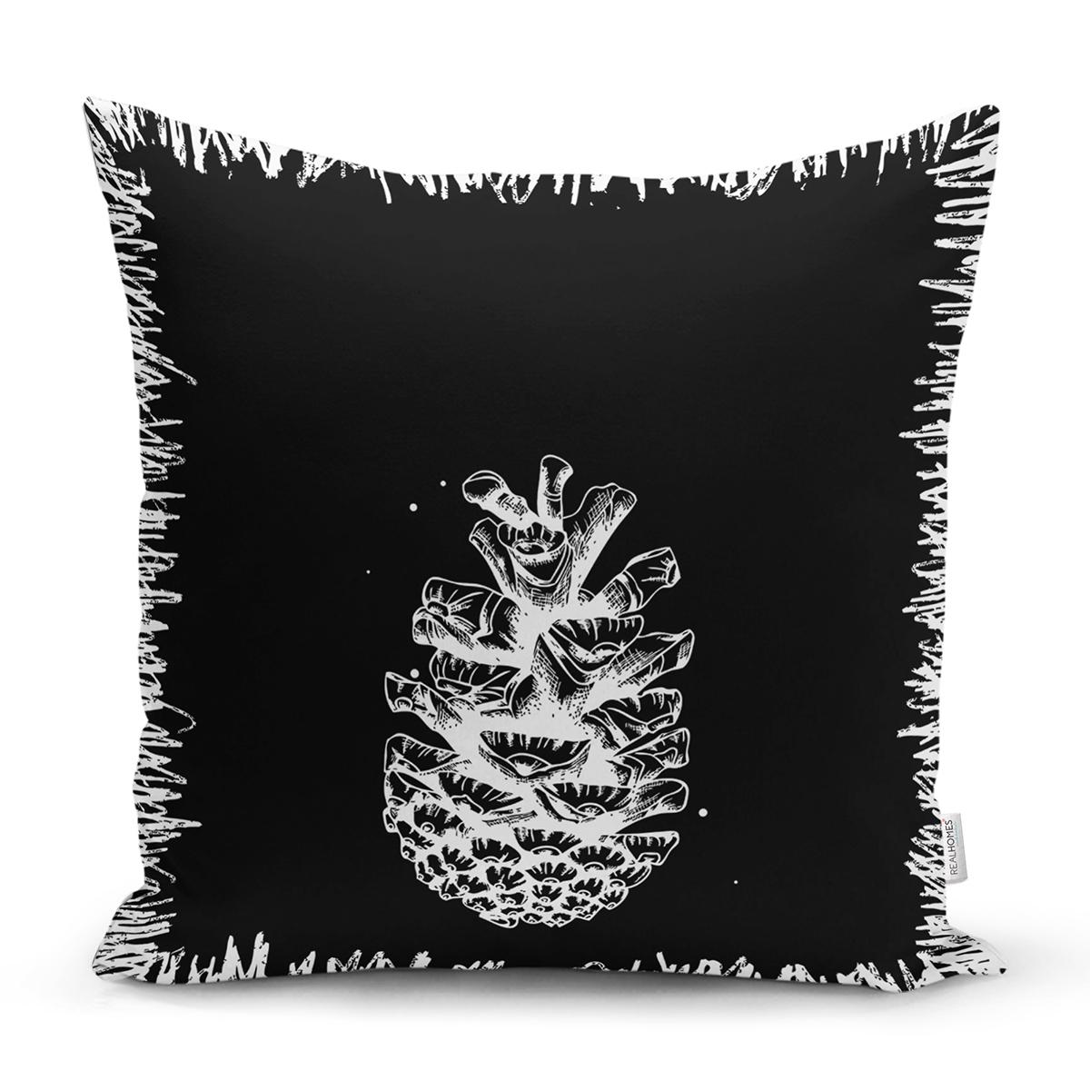 Siyah Beyaz Kozalak Motifli Dijital Baskılı Dekoratif Yastık Kırlent Kılıfı Realhomes