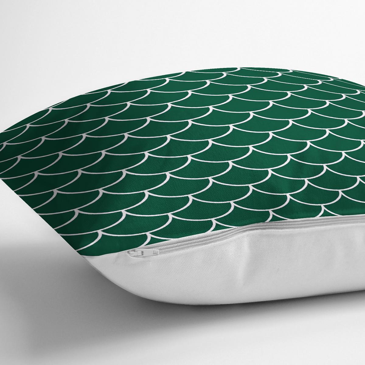 Yeşil Pul Tasarımlı Dijital Baskılı Modern Yastık Kırlent Kılıfı Realhomes