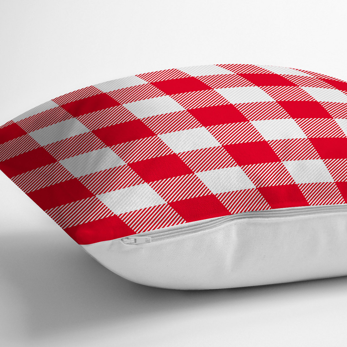 Kırmızı Ekose Tasarımlı Dijital Baskılı Modern Yastık Kırlent Kılıfı Realhomes