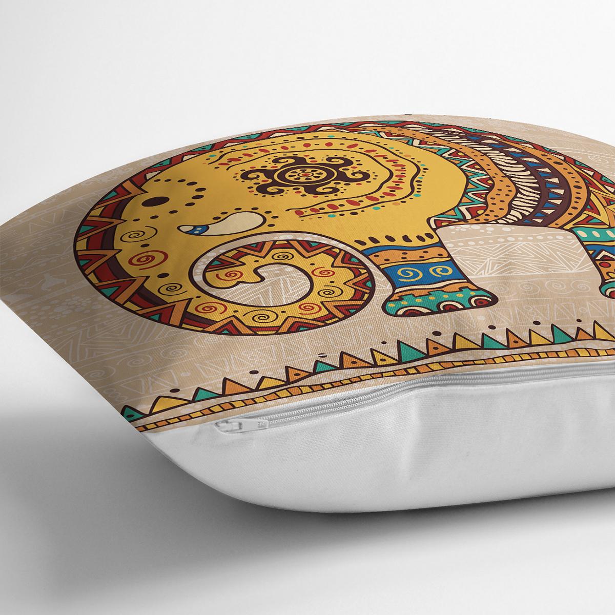 Etnik Figürlü Fil Desenli Dijital Baskılı Dekoratif Yastık Kırlent Kılıfı Realhomes