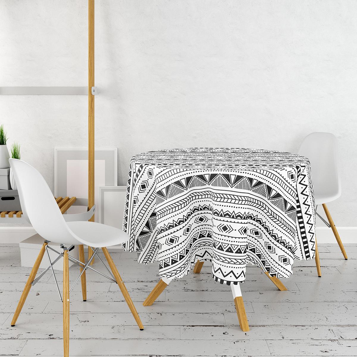 İskandinav Desenli Etnik Tasarımlı Dijital Baskılı Modern Yuvarlak Masa Örtüsü - Çap 140cm Realhomes