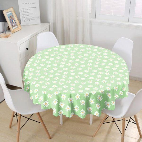 Yeşil Zemin Papatya Özel Tasarımlı Dijital Baskılı Modern Yuvarlak Masa Örtüsü - Çap 140cm Realhomes