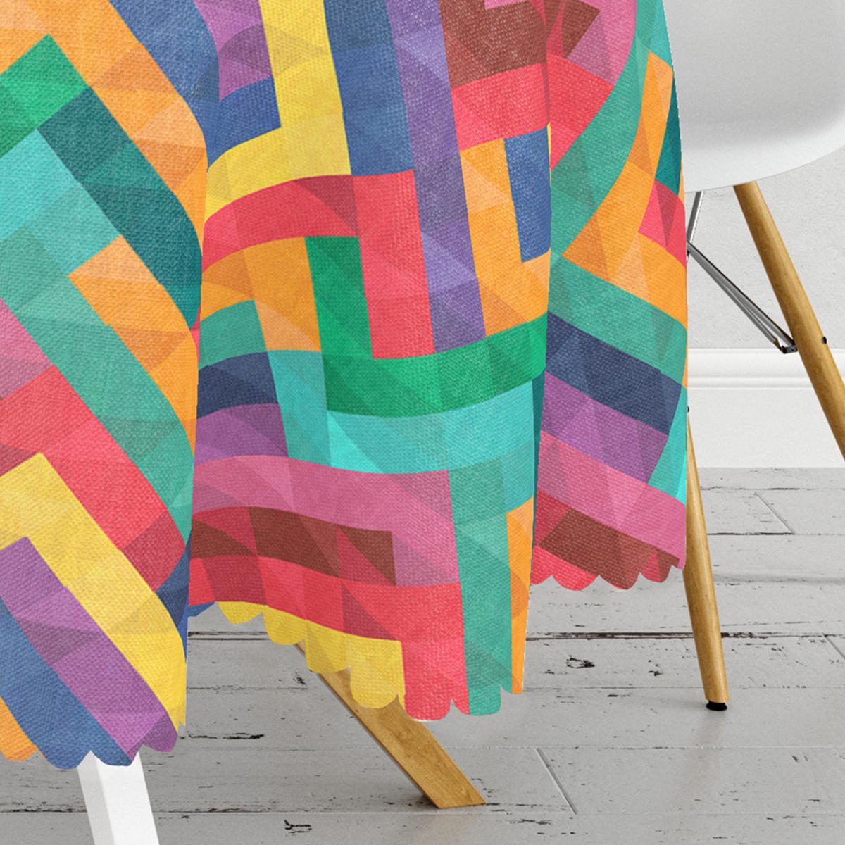 Renkli Geometrik Desen Dijital Baskılı Yuvarlak Masa Örtüsü - Çap 140cm Realhomes