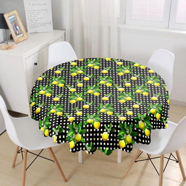 Siyah Zeminde Ekose Desenli Limon Baskılı Yuvarlak Masa Örtüsü - Çap 140cm Realhomes