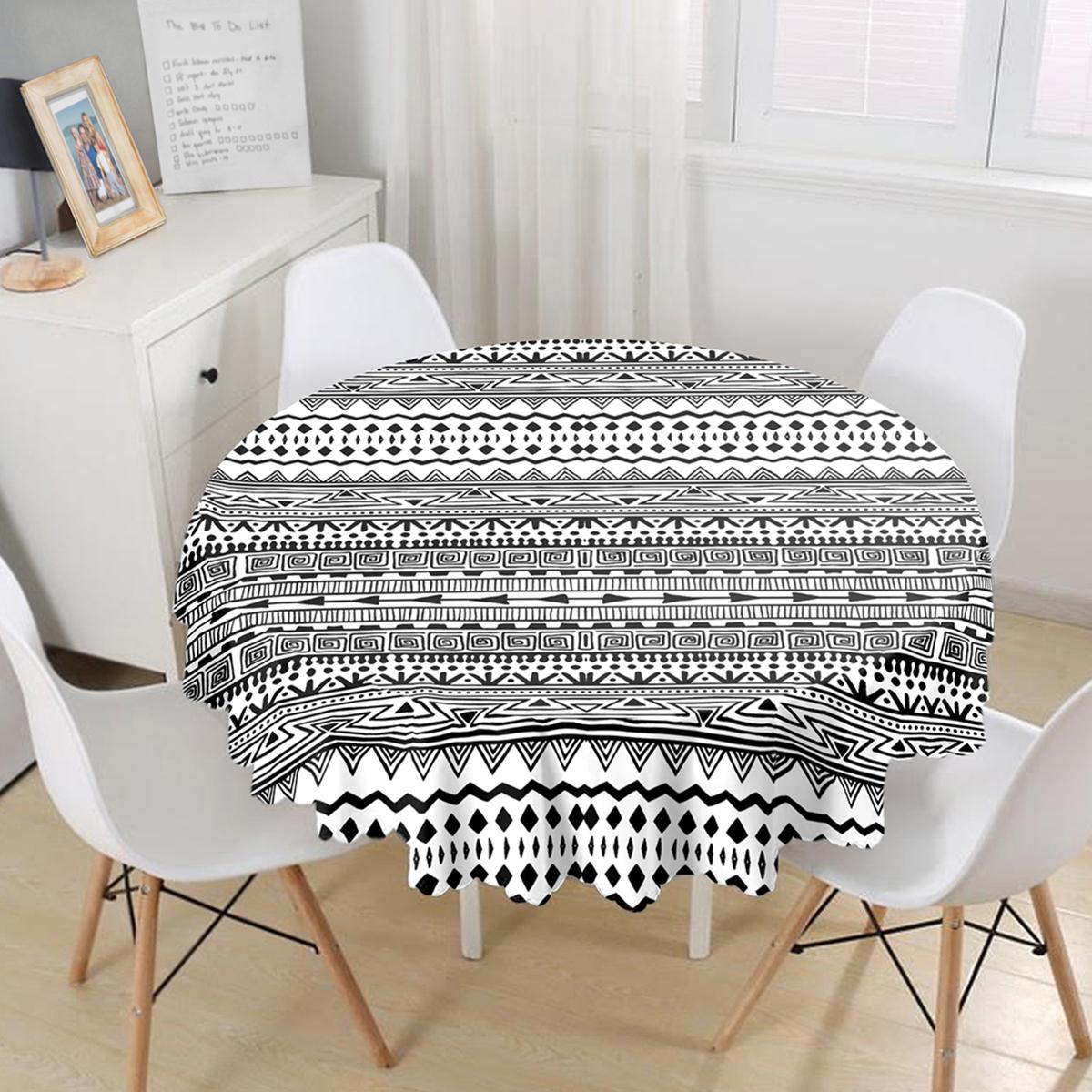 Siyah Beyaz African Motifli Modern Yuvarlak Masa Örtüsü - Çap 140cm Realhomes