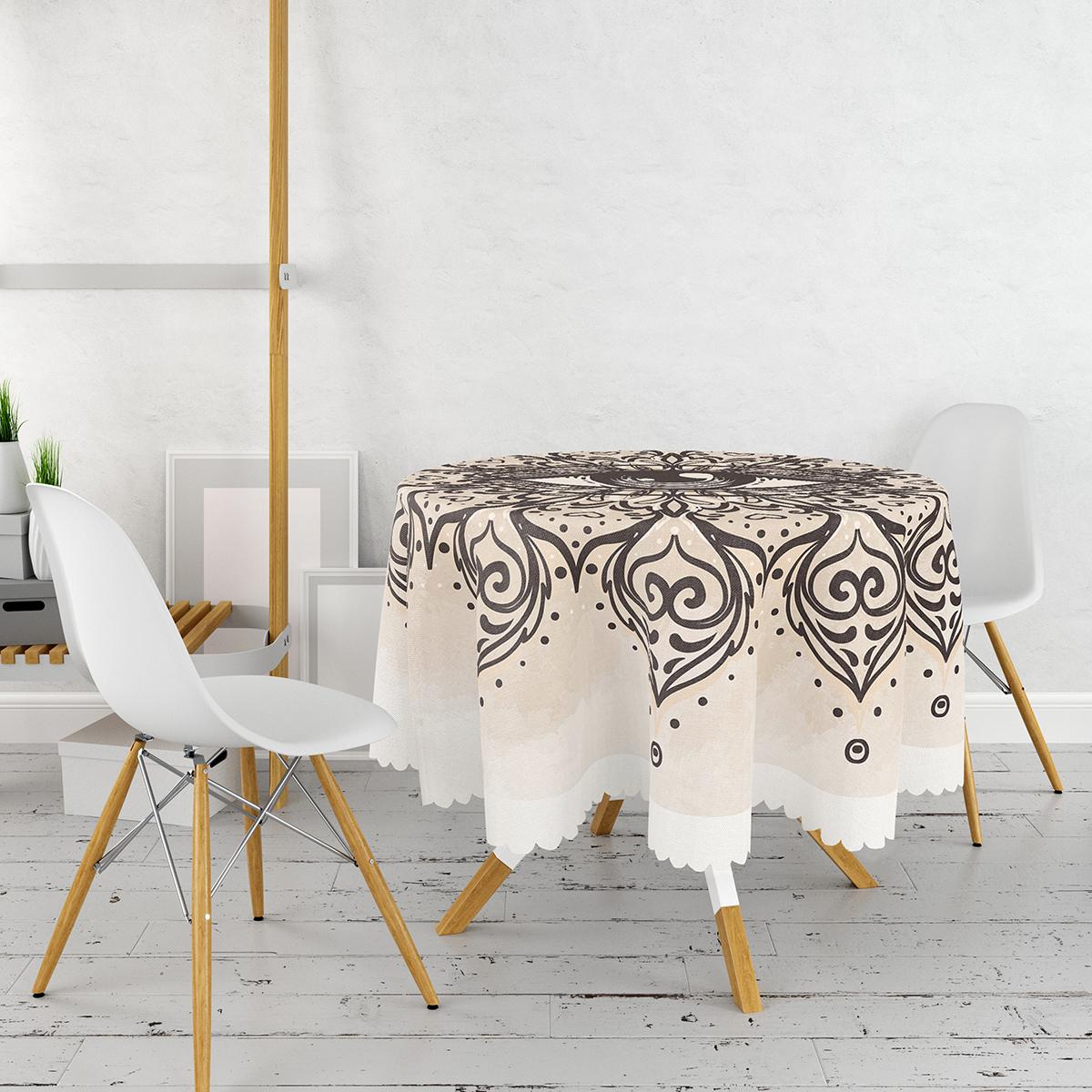 Özel Tasarım Çiçek Üçüncü Göz Motifli Yuvarlak Masa Örtüsü - Çap 140cm Realhomes