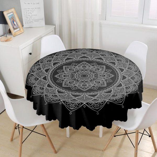 Siyah Zeminde Beyaz Mandala Desenli Yuvarlak Masa Örtüsü - Çap 140cm Realhomes