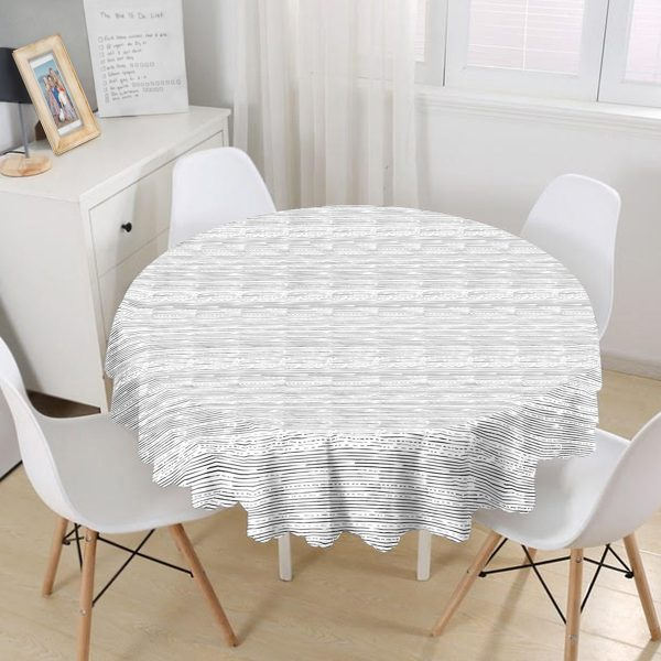 Modern Siyah Beyaz Çizgi Motifli Yuvarlak Masa Örtüsü - Çap 140cm Realhomes