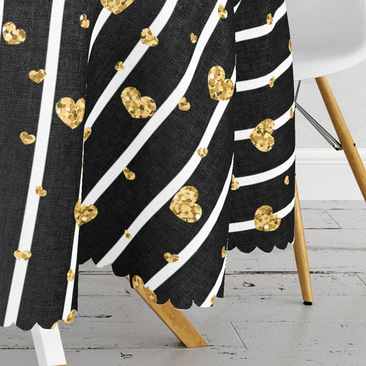 Siyah Zemin Beyaz Çizgi Tasarımlı Hardal Kalp MotifliYuvarlak Masa Örtüsü - Çap 140cm Realhomes