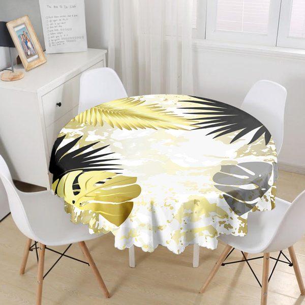Mermer Zeminli Gold Ve Siyah Yapraklar Dijital Baskılı Modern Yuvarlak Masa Örtüsü - Çap 140cm Realhomes