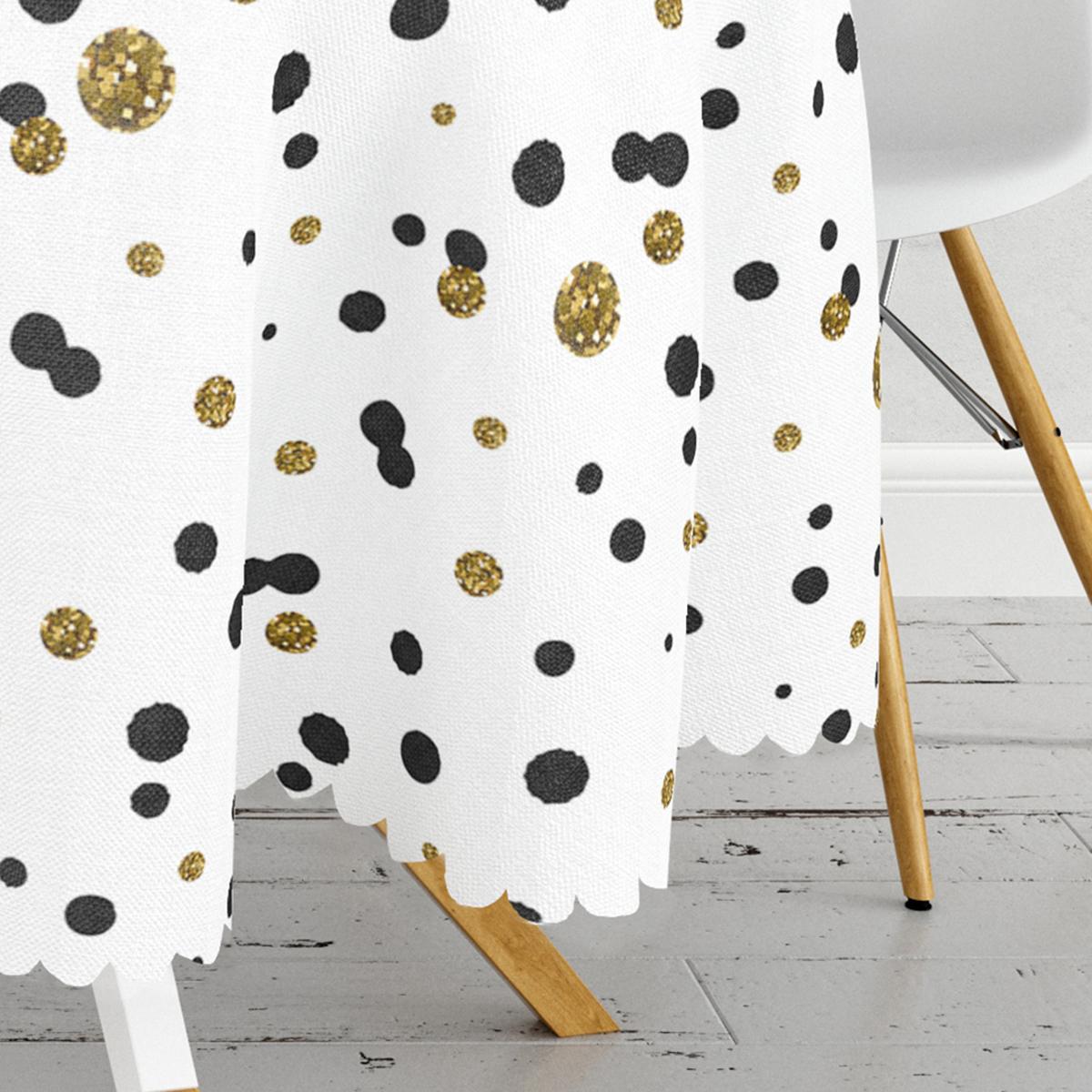Beyaz Zeminde Gold Ve Siyah Renkli Pauntiyeler Modern Yuvarlak Masa Örtüsü - Çap 140cm Realhomes