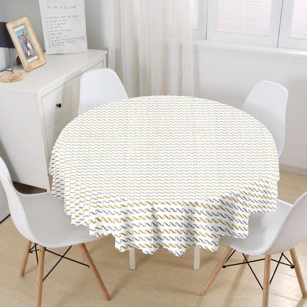 Beyaz Zeminde Gold Ve Siyah Çizgili Dijital Baskılı Modern Yuvarlak Masa Örtüsü - Çap 140cm Realhomes