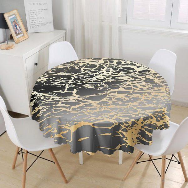 Siyah Zeminde Gold Renkli Çizim Desenli Dijital Baskılı Modern Yuvarlak Masa Örtüsü - Çap 140cm Realhomes