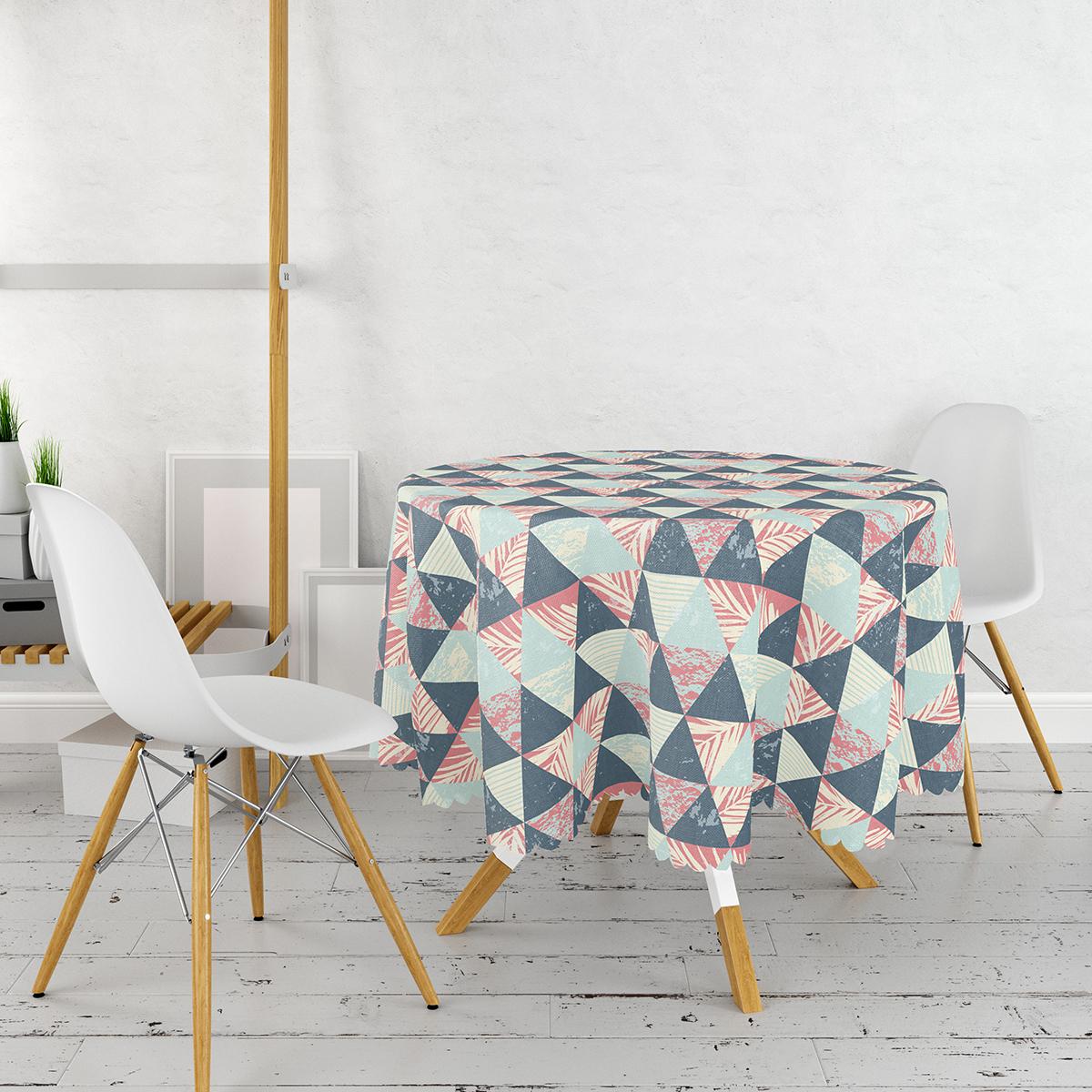 Renkli Zemin Üzerinde Üçgen Desenli Dijital Baskılı Modern Yuvarlak Masa Örtüsü - Çap 140cm Realhomes