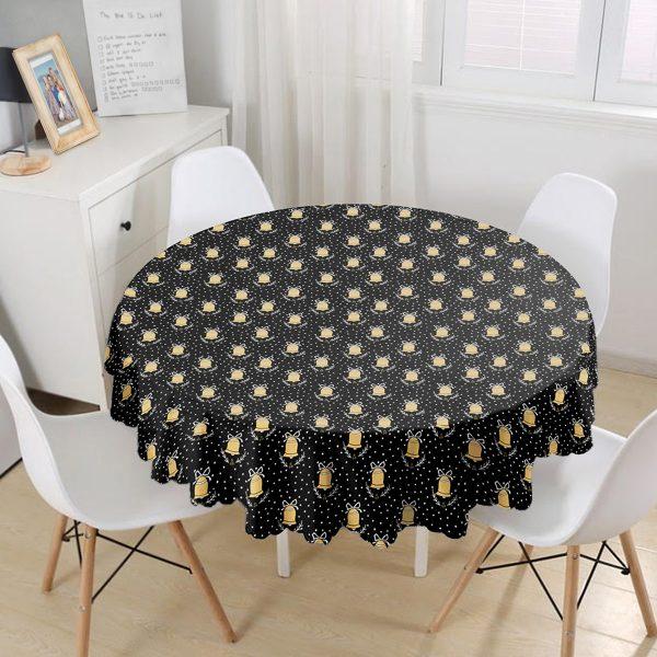 Siyah Zeminli Gold Renkli Çan Desenli Dijital Baskılı Modern Yuvarlak Masa Örtüsü - Çap 140cm Realhomes