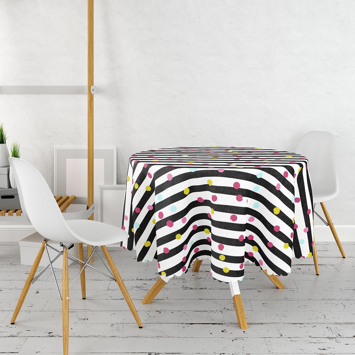 Beyaz Zemin Üzerinde Modern Siyah Çizgili Renkli Puantiyeli Yuvarlak Masa Örtüsü - Çap 140cm Realhomes