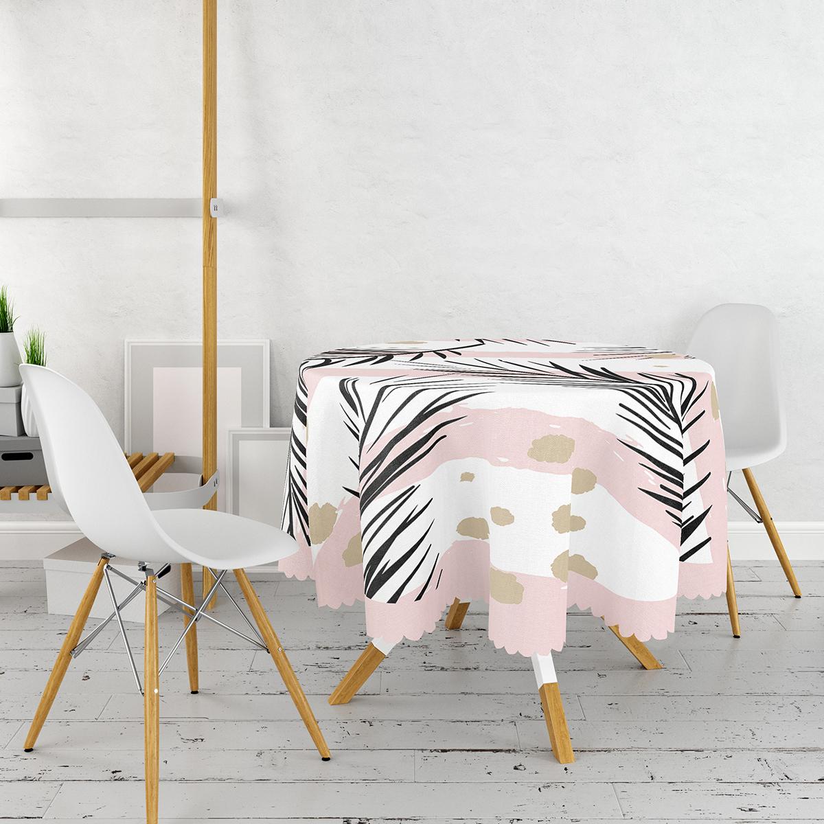Beyaz Zemin Üzerinde Gold Detaylı Yaprak Desenli Modern Yuvarlak Masa Örtüsü - Çap 140cm Realhomes