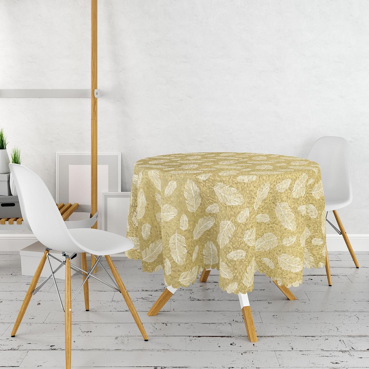 Gold Zemin Üzerinde Beyaz Renkli Yaprak Desenli Modern Yuvarlak Masa Örtüsü - Çap 140cm Realhomes