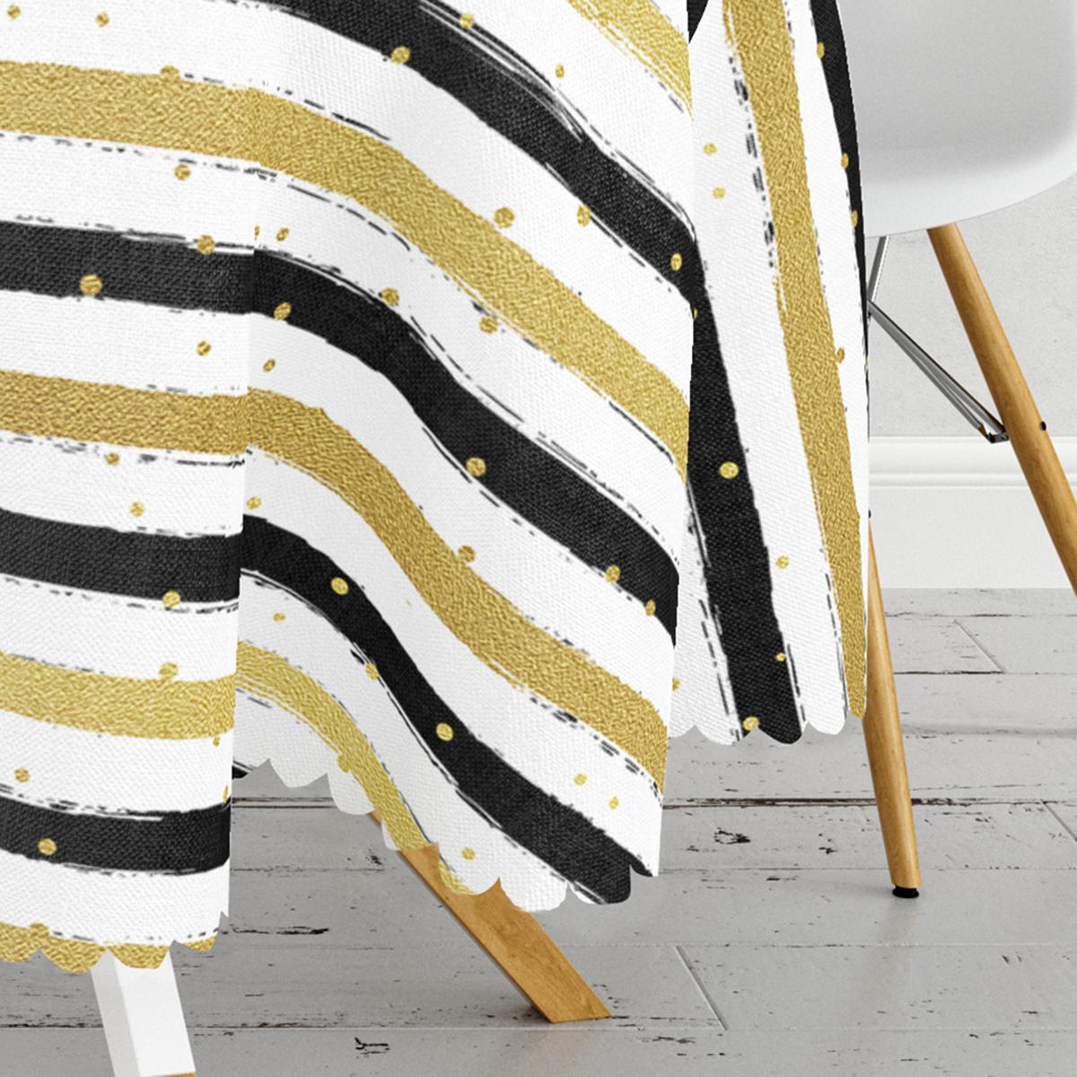 Beyaz Zemin Üzerinde Gold Detaylı Siyah Yatay Çizgili Yuvarlak Masa Örtüsü - Çap 140cm Realhomes