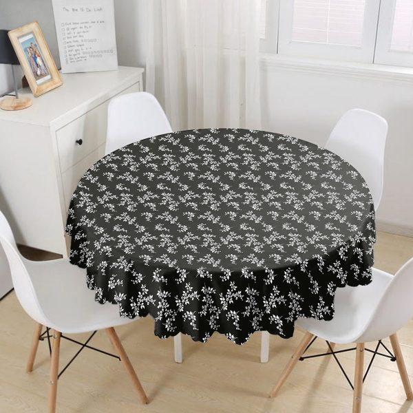 Siyah Zeminli Beyaz Çiçek Desenli Dijital Baskılı Modern Yuvarlak Masa Örtüsü - Çap 140cm Realhomes