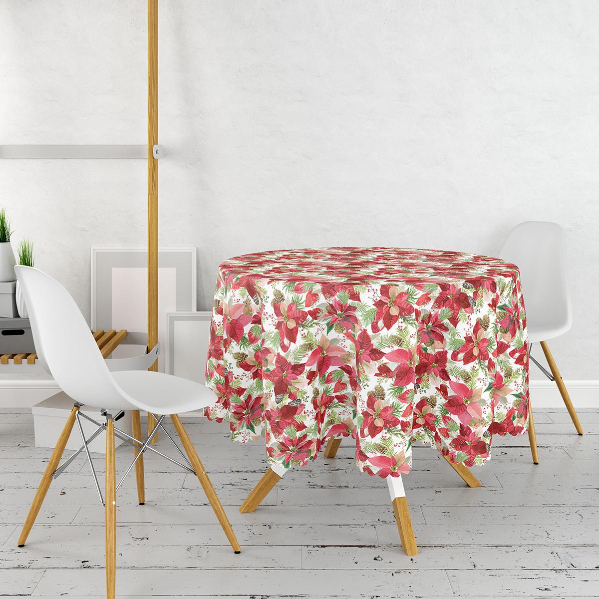 Beyaz Zeminli Renkli Yaprak Desenli Dijital Baskılı Modern Yuvarlak Masa Örtüsü - Çap 140cm Realhomes