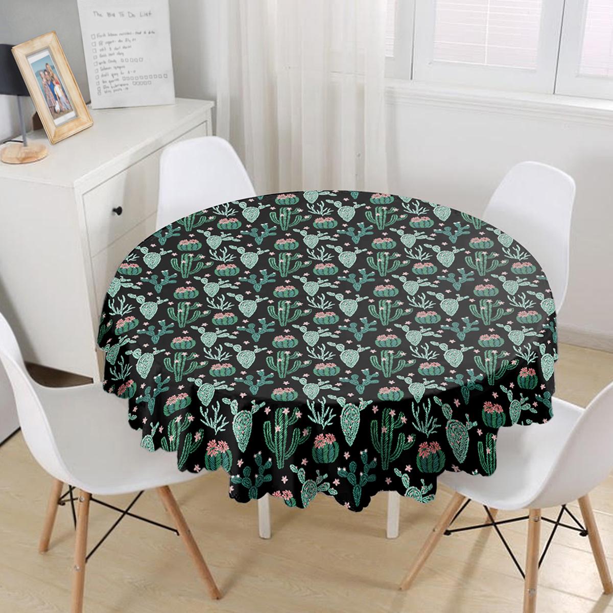 Siyah Zemin Üzerinde Yeşil Kaktüs Desenli Yuvarlak Masa Örtüsü - Çap 140cm Realhomes