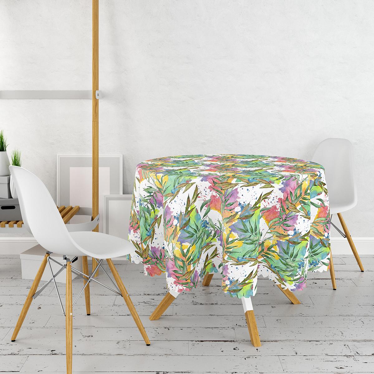 Beyaz Zemin Üzerinde Renkli Soyut Desenli Yuvarlak Masa Örtüsü - Çap 140cm Realhomes