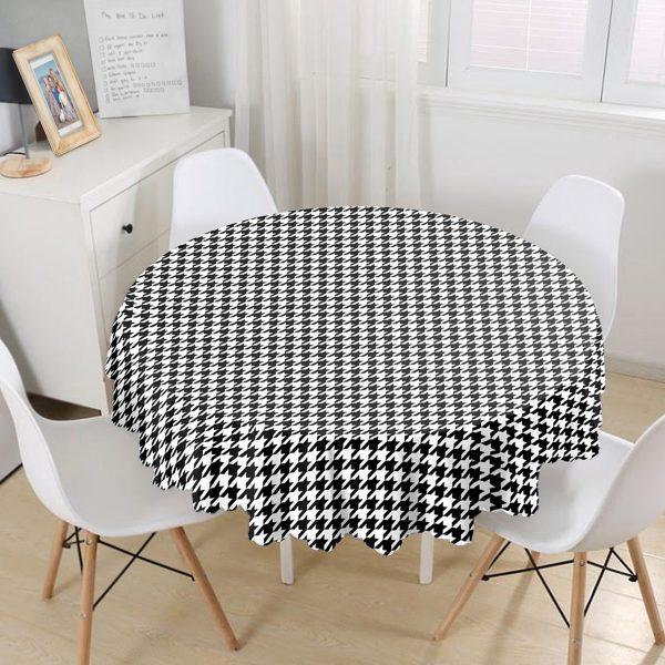 Beyaz Zeminli Siyah Ekose Desenli Dijital Baskılı Modern Yuvarlak Masa Örtüsü - Çap 140cm Realhomes