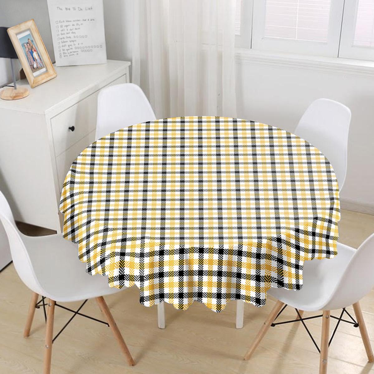 Beyaz Zemin Üzerinde Siyah Sarı Ekose Desenli Dijital Baskılı Modern Yuvarlak Masa Örtüsü - Çap 140cm Realhomes