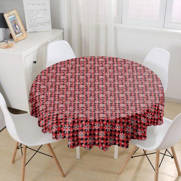 Kırmızı Ekose Desenli Kartanesi Motifli Dijital Baskılı Modern Yuvarlak Masa Örtüsü - Çap 140cm Realhomes