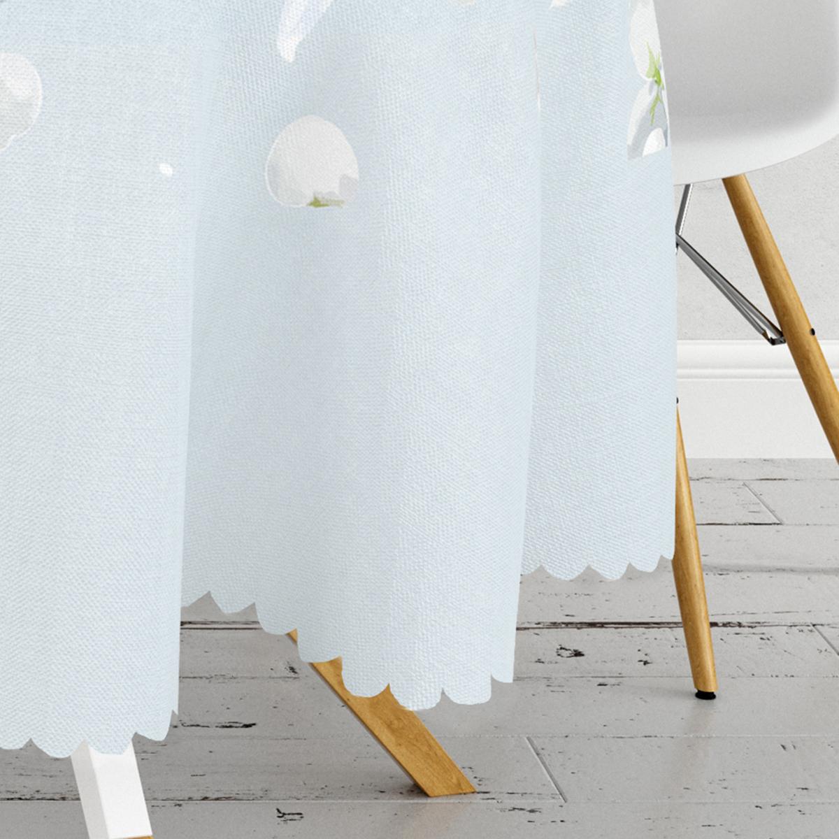 Renkli Zeminli Beyaz Ortanca Çiçek Desenli Dijital Baskılı Modern Yuvarlak Masa Örtüsü - Çap 140cm Realhomes