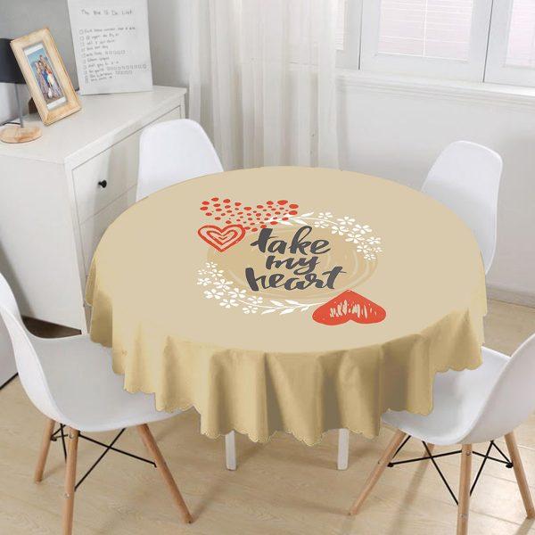 Sevgililer Günü Temalı Özel Tasarım Dijital Baskılı Modern Yuvarlak Masa Örtüsü - Çap 140cm Realhomes