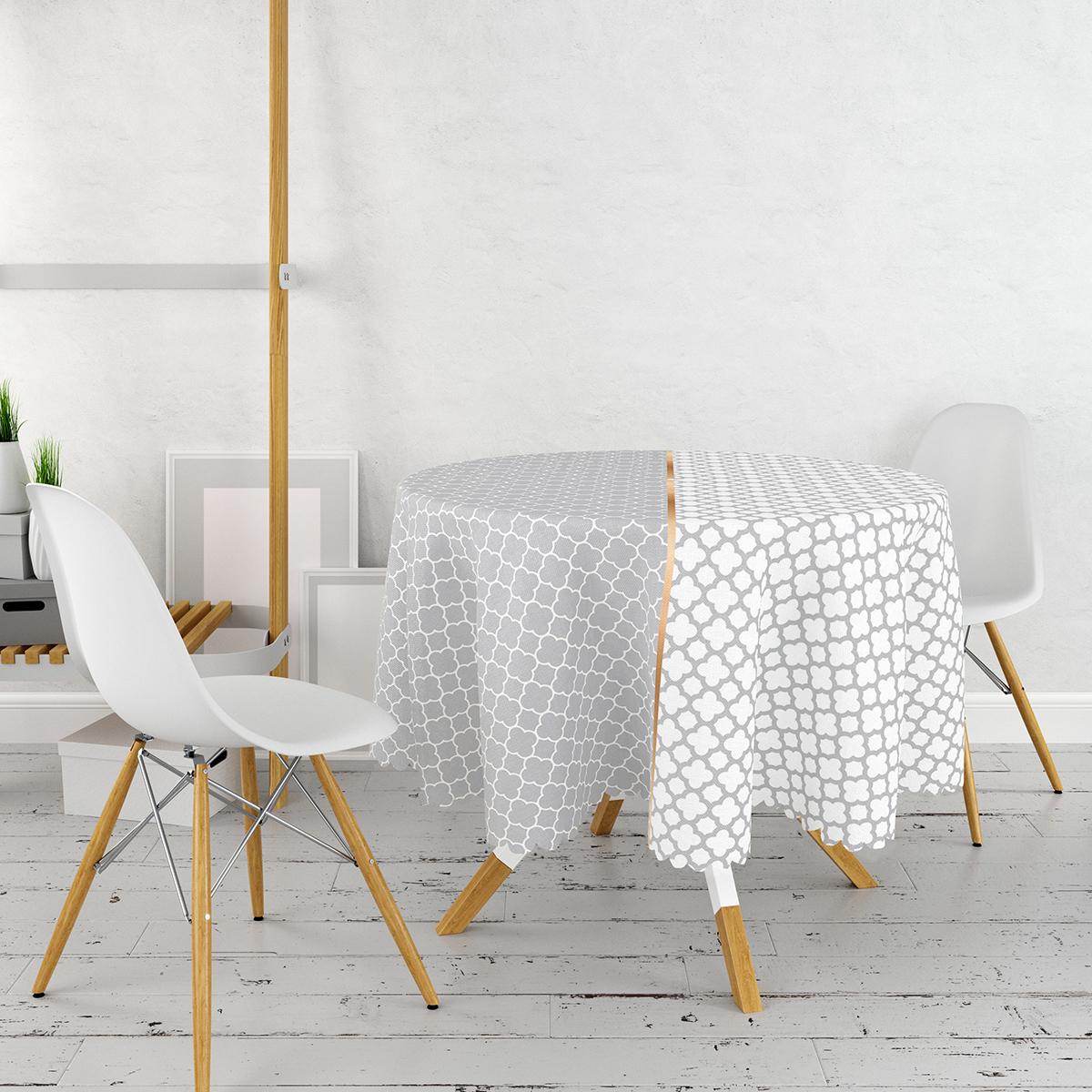 Gri & Beyaz Ogea Desenli Dijital Baskılı Yuvarlak Masa Örtüsü - Çap 140cm Realhomes
