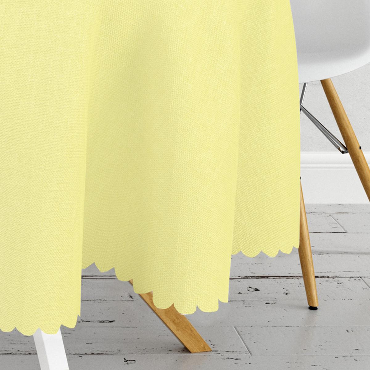 Sarı Renkli Dijital Baskılı Yuvarlak Masa Örtüsü - Çap 140cm Realhomes