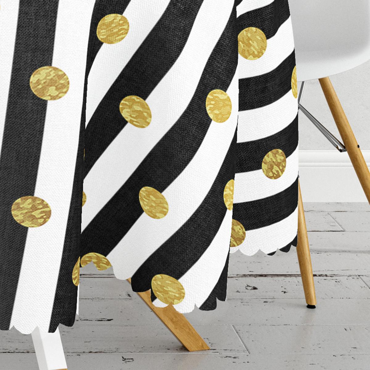 Siyah Beyaz Çizgili Gold Puantiyeli Dijital Baskılı Yuvarlak Masa Örtüsü - Çap 140cm Realhomes