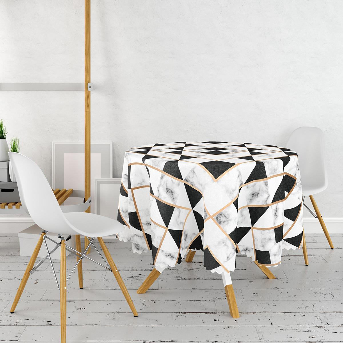 Siyah Mermer Tasarımlı Gold Detaylı Dijital Baskılı Yuvarlak Masa Örtüsü - Çap 140cm Realhomes