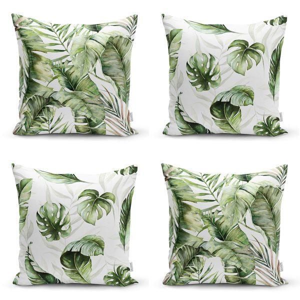 4'lü Yeşil Egzotik Yaprak Tasarımlı Dijital Baskılı Modern Kırlent Kılıfı Seti Realhomes