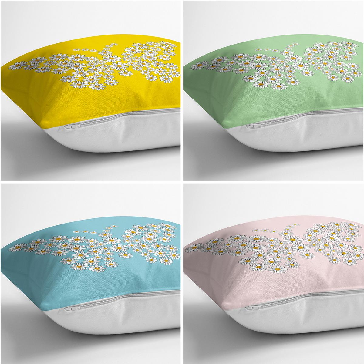 4'lü Renkli Zemin Papatya Kelebek Özel Tasarımlı Dijital Baskılı Modern Kırlent Kılıfı Seti Realhomes