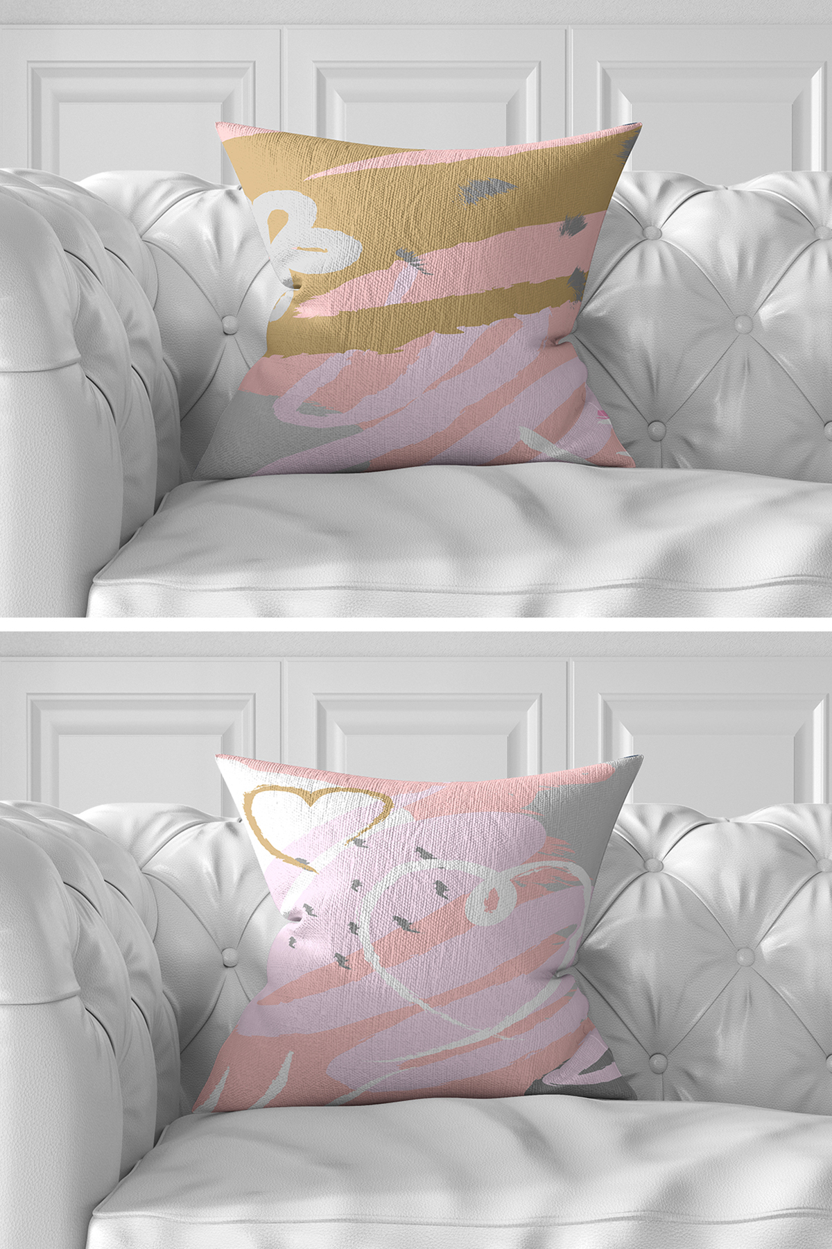 7'li Pembe Renkli Pastel Çizimli Dijital Baskılı Kırlent Kılıfı Seti Realhomes