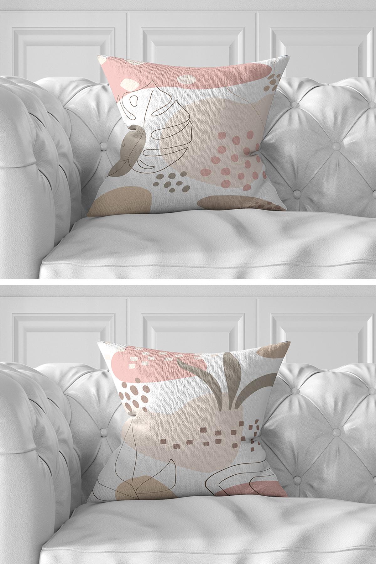7'li Soft Tropik Yaprak Tasarımlı Dijital Baskılı Kırlent Kılıfı Seti Realhomes