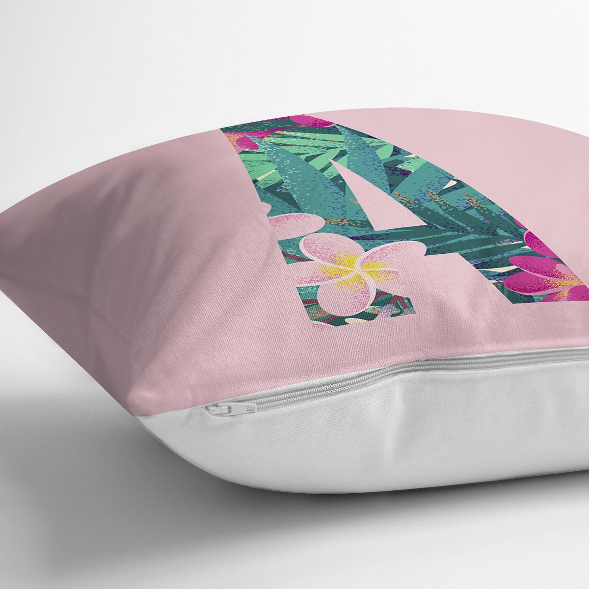 Pembe Zemin Tropik Yapraklı A Harfi Özel Tasarım Dijital Baskılı Yastık Kırlent Kılıfı Realhomes