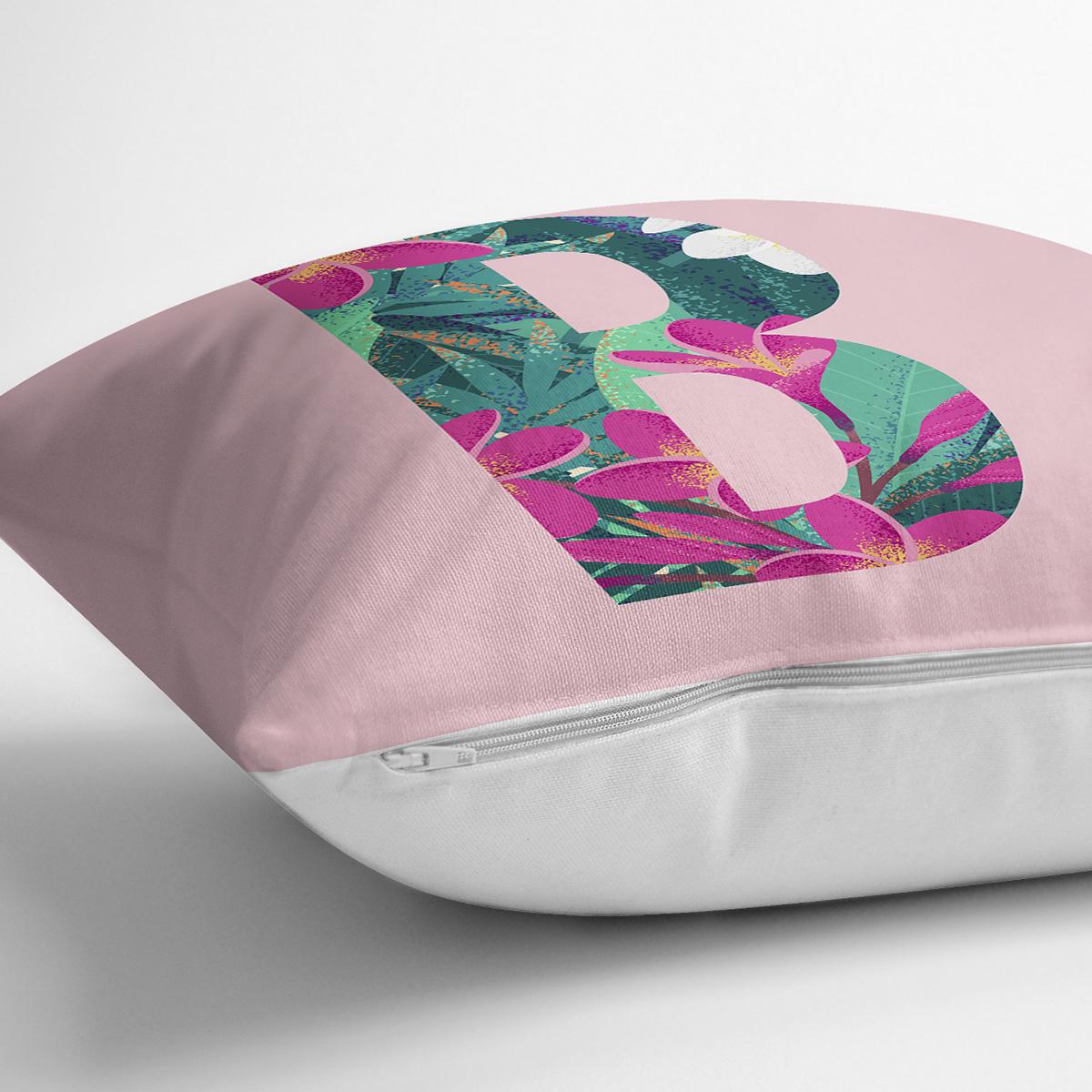 Pembe Zemin Tropik Yapraklı B Harfi Özel Tasarım Dijital Baskılı Yastık Kırlent Kılıfı Realhomes