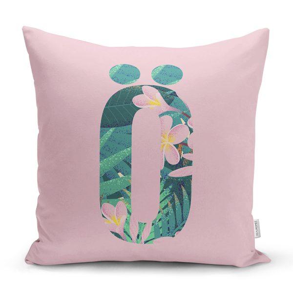 Pembe Zemin Tropik Yapraklı T Harfi Özel Tasarım Dijital Baskılı Yastık Kırlent Kılıfı Realhomes